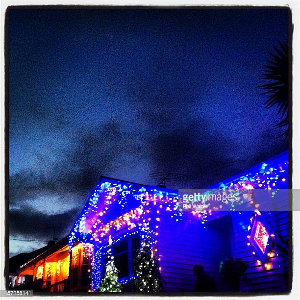 Christmas lights decorate Franklin Road houses and businesses in Ponsonby on December 1 2012 in Auckland New Zealand Every year in December the...