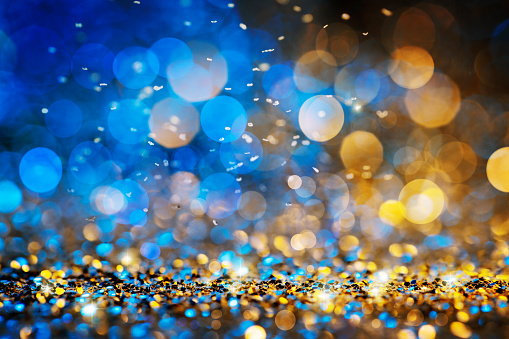Christmas lights defocused background - Bokeh Gold Blue 877684562