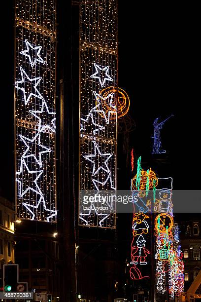 christmas lights, george square, glasgow, scotland, uk - george square stock photos and pictures