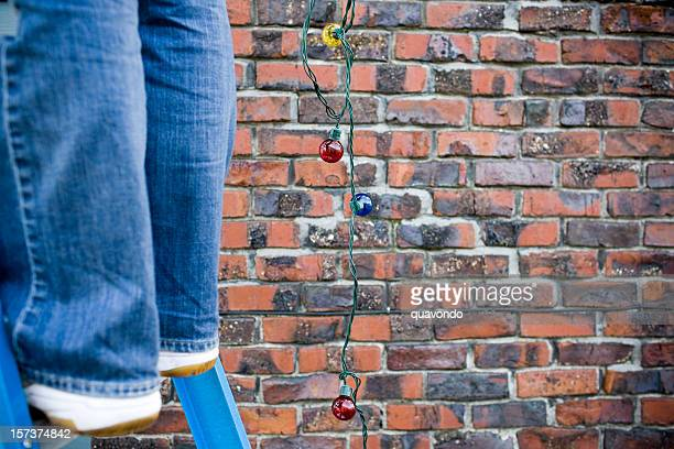 Christmas Lights Hanging from Ladder Outside, Copy Space