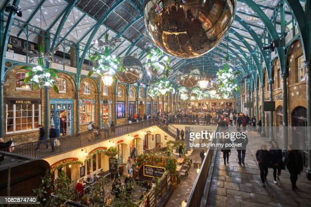 christmas lights in london, from a high angle view. - covent garden stock pictures, royalty-free photos & images