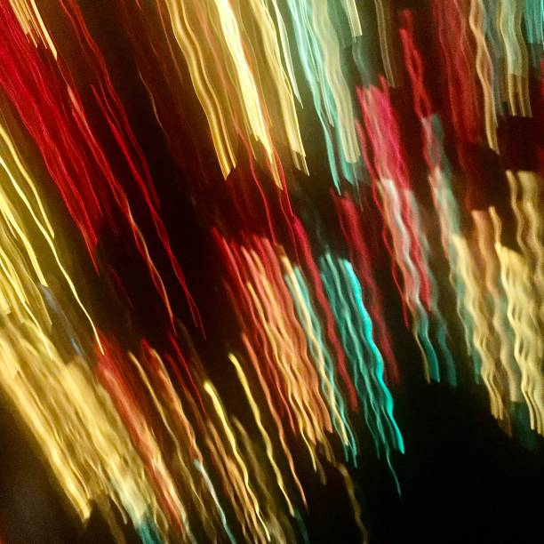 Christmas lights in motion, blurred