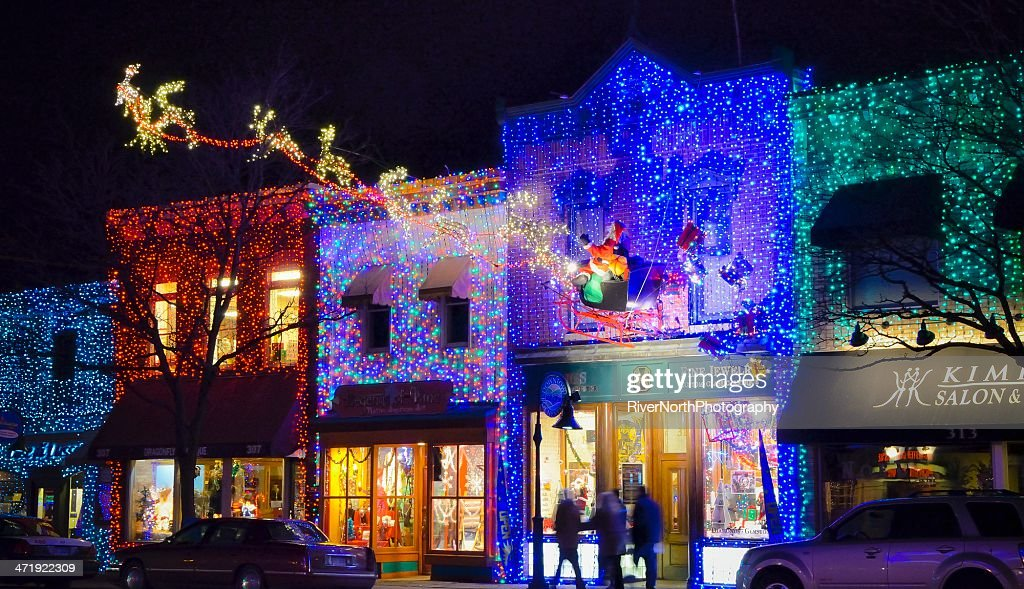 Christmas Lights In Rochester Michigan : Stock Photo