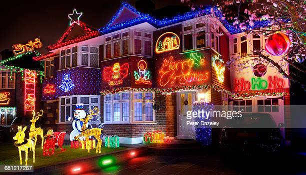 christmas lights in the suburbs - christmas decoration stock pictures, royalty-free photos & images