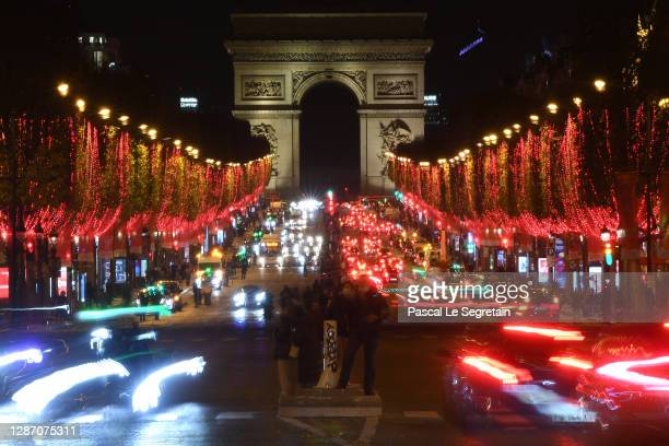 Christmas lights launch on the Champs Elysees on November 22, 2020 in Paris, France.