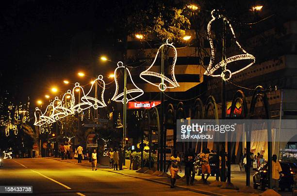 Christmas lights light the streets of Abidjan on December 15 2012 after the launch of the 2nd edition of 'Abidjan Perle des Lumieres' for Christmas...