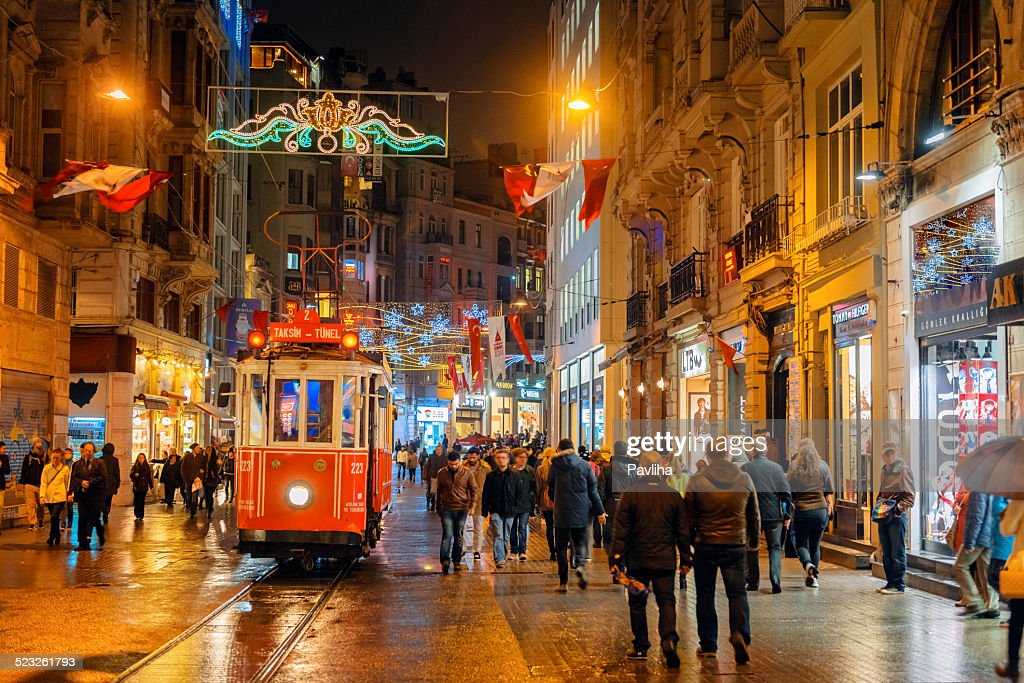 Christmas Lights, National Flags and Tramway in Istanbul, Turkey : Stock Photo