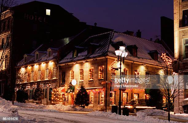 christmas lights on buildings in place jacques cartier, montreal, canada - place jacques cartier stock pictures, royalty-free photos & images