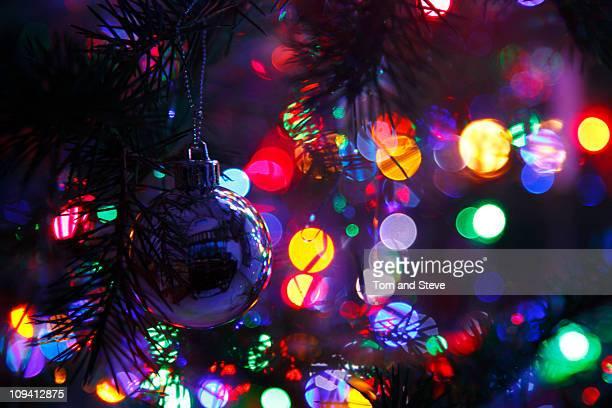 Christmas lights on tree with boken