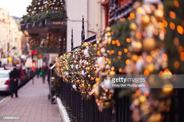 Christmas lights outside Claridges in London
