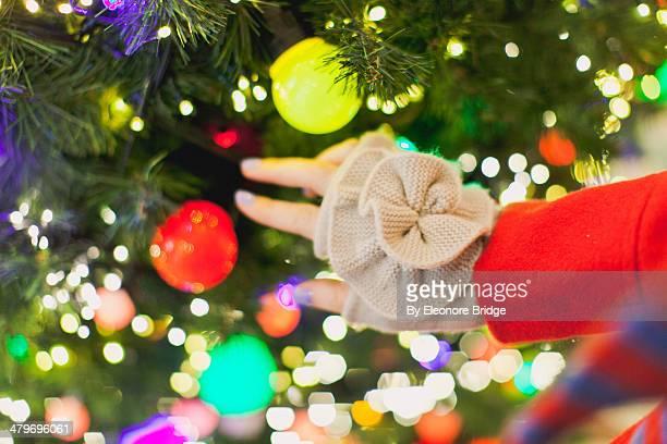 christmas lights - 指なし手袋 ストックフォトと画像