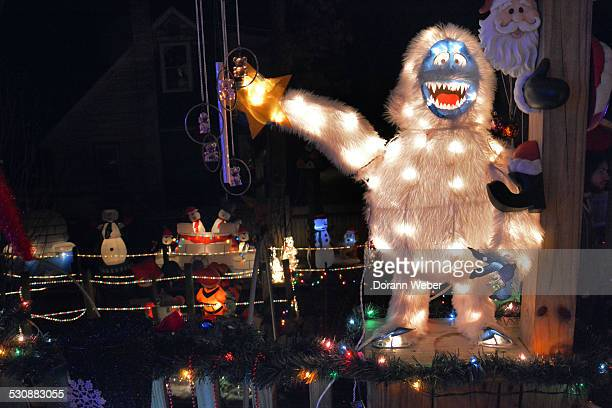 Christmas lights with Bumble the abominable snowman in Browns Mills New Jersey