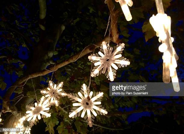christmas, light-up snowflake yard decor, night - inclinando se - fotografias e filmes do acervo
