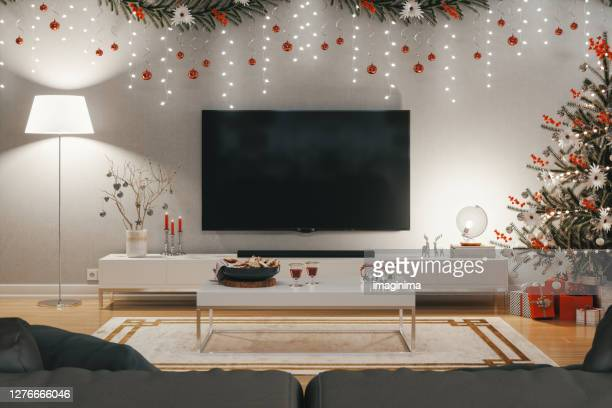 christmas living room - cosy stock pictures, royalty-free photos & images