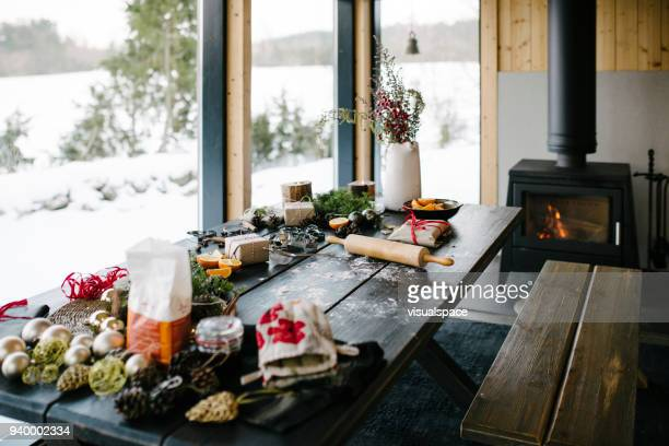 christmas - living room still life - scandinavia stock pictures, royalty-free photos & images