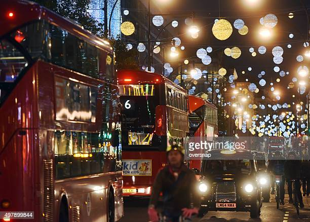 christmas london traffic - west end london stock photos and pictures
