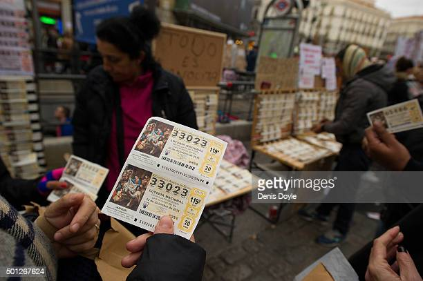 Christmas lottery tickets know as El Gordo are for sale at Puerta del Sol square on December 12 2015 in Madrid Spain The traditional Christmas...