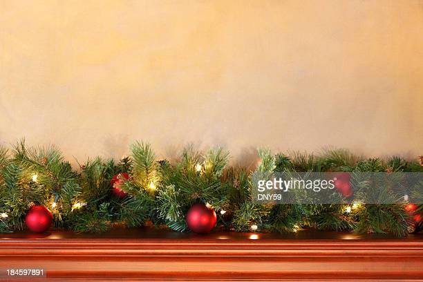 christmas mantel - christmas garland stock pictures, royalty-free photos & images