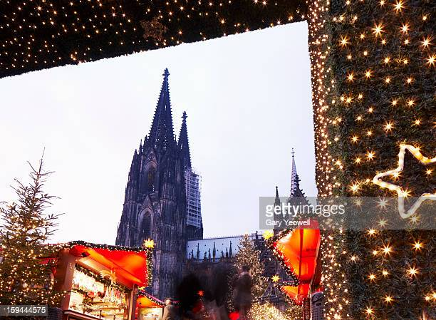Christmas Market and Cologne Cathedral at dusk