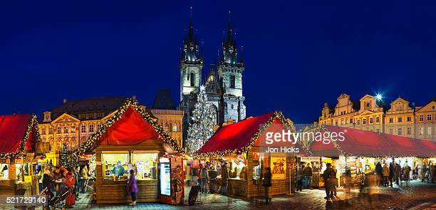 Christmas market and Tyn Church in Old Town Square
