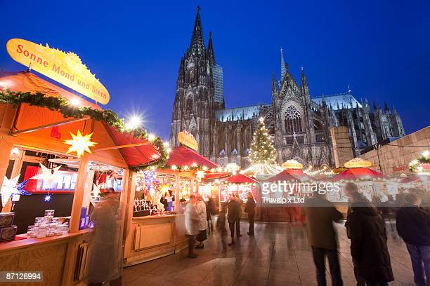 Christmas market at dusk Koln