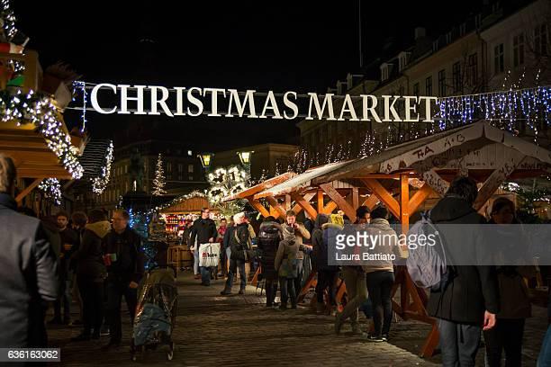 Christmas market at Hojbro Square, Copenhagen, Denmark