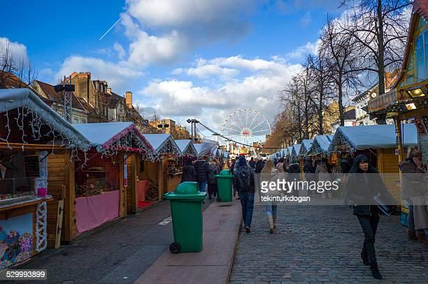 christmas market at sainte catherine of brussel belgium