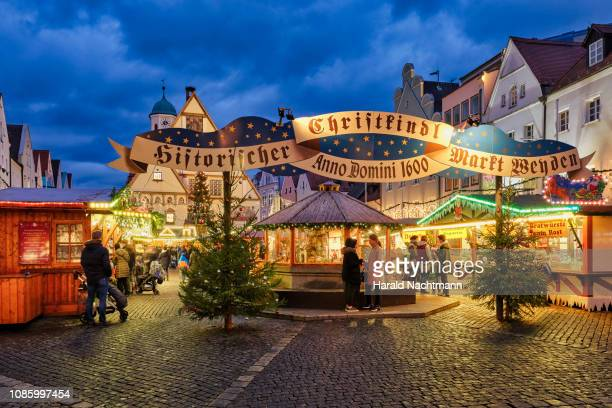 christmas market at townhall square, weiden in der oberpfalz, bavaria, germany - regensburg stock photos and pictures