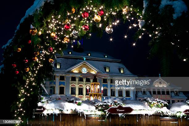 Christmas market by night in Coburg, Bavaria, Germany, Europe