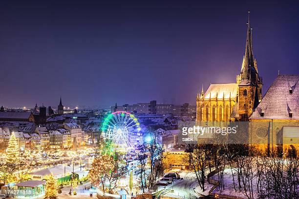 christmas market erfurt - street market stock pictures, royalty-free photos & images