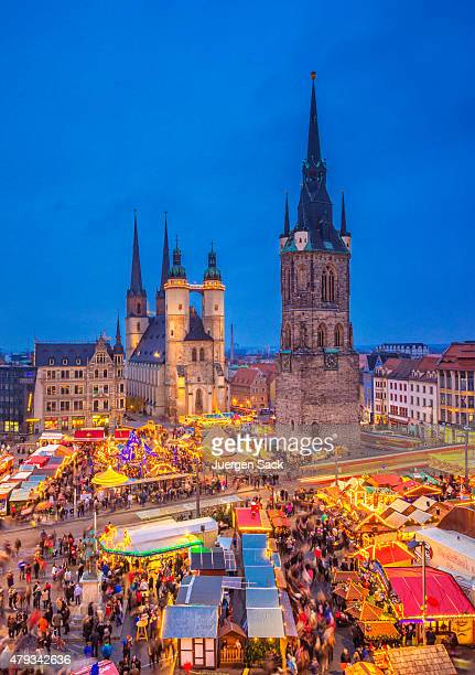 christmas market halle (saale) - saxony anhalt stock pictures, royalty-free photos & images
