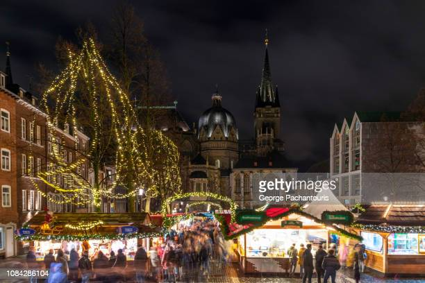 christmas market in aachen, germany - aachen stock pictures, royalty-free photos & images