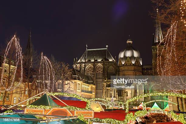 christmas market in aachen - aachen stock pictures, royalty-free photos & images