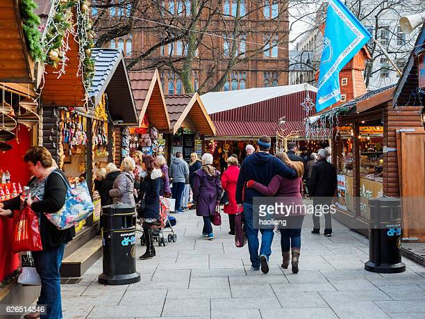 christmas market in belfast,northern ireland - belfast stock pictures, royalty-free photos & images