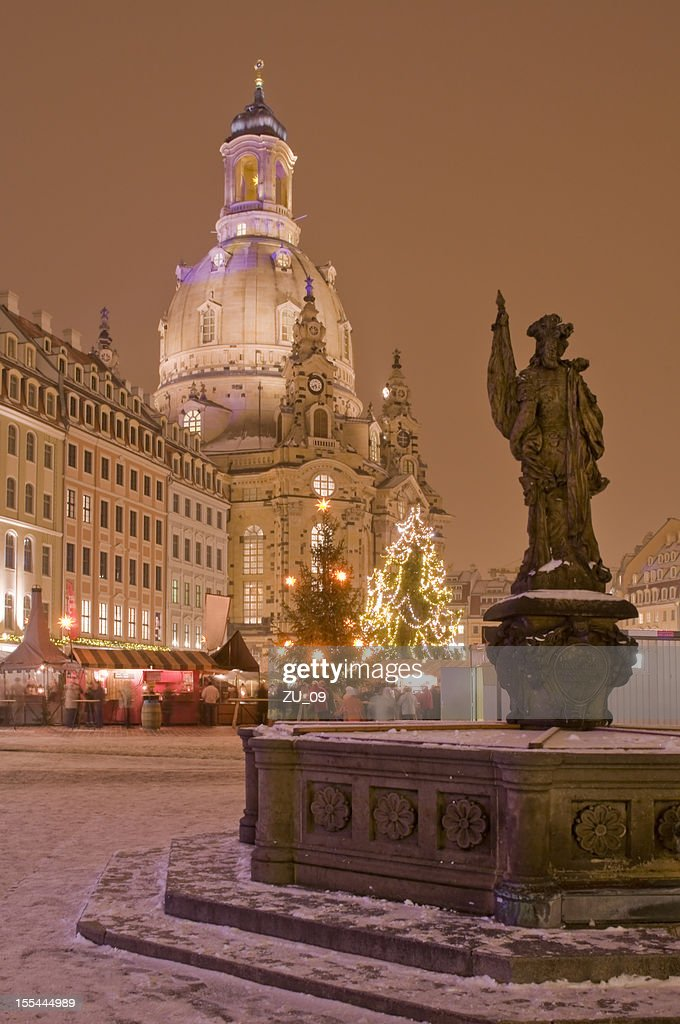 Christmas market in Dresden with Frauenkirche : Stock Photo