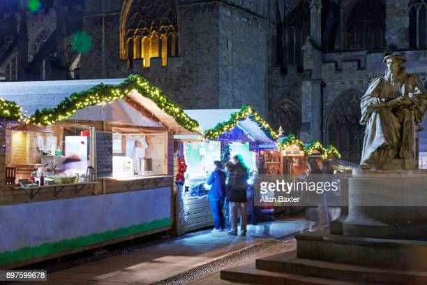 Christmas Market in Exeter illuminated at night