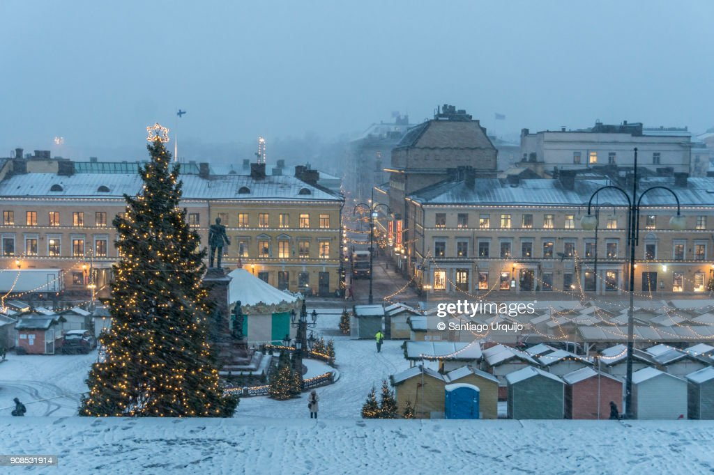 Christmas market in front of Helsinki Cathedral : Stock Photo