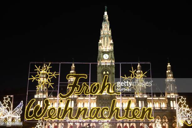 Christmas market in front of the City Hall in Vienna Austria on December 17 2018
