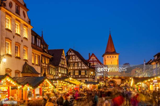 christmas market in gengenbach, schwarzwald (black forest) - baden württemberg stock photos and pictures