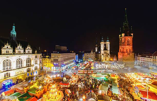 christmas market in halle (saale) - saxony anhalt stock pictures, royalty-free photos & images
