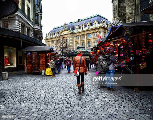 christmas market in lausanne, switzerland - lausanne stock photos and pictures