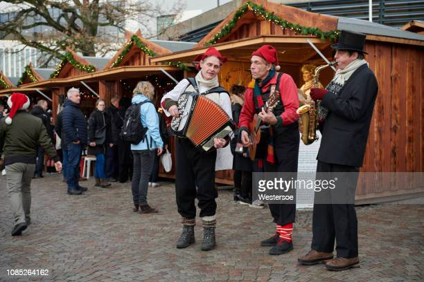 christmas market in odense city - funen stock pictures, royalty-free photos & images