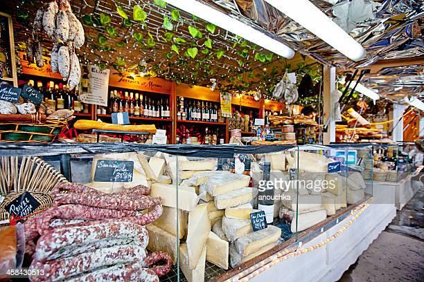 Christmas Market in Paris. Sausages, Cheese, Foie Gras.