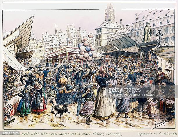 Christmas market in Place Kleber in Strasbourg by Emile Schweitzer watercolour France 19th century Strasbourg Musée Historique