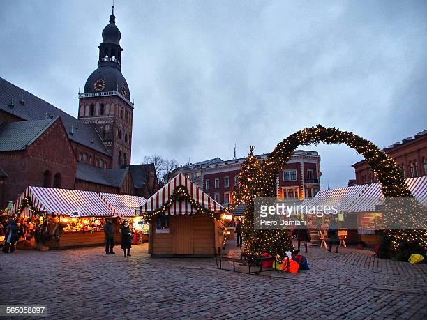 A Christmas market in Riga