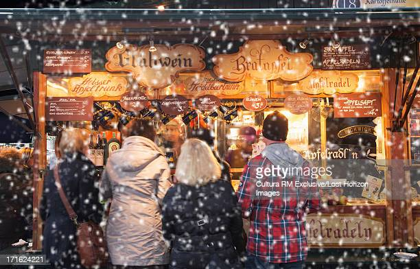 Christmas market in snow, Salzburg, Austria