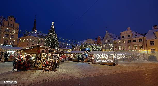 christmas market in tallinn - estonia stock photos and pictures