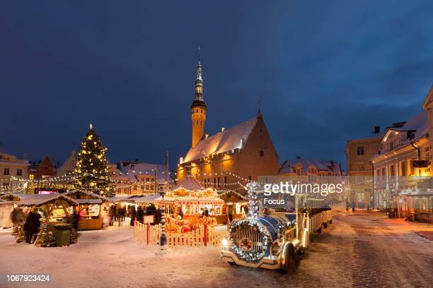 Christmas Market in Tallinn Town Hall Square.