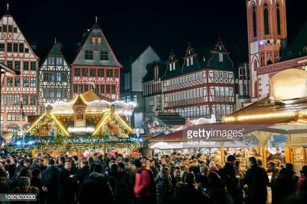 Christmas market in the central square of Romerberg in Frankfurt