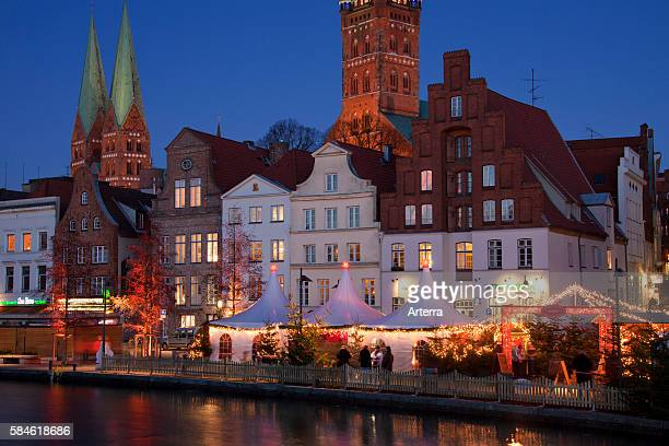 Christmas market in the Hanseatic City of Luebeck Obertrave Germany